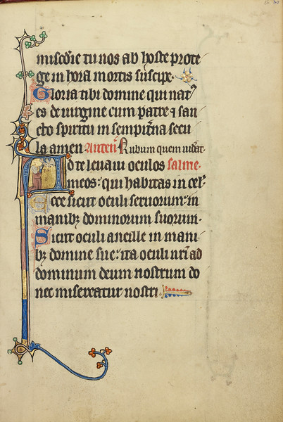 Initial A: A Kneeling Woman Praying to Christ