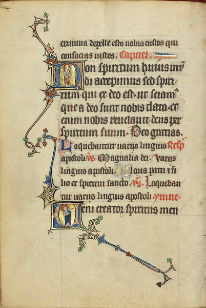 Initial N: Saint Paul with a Sword; Initial V: Saint Peter with a Key
