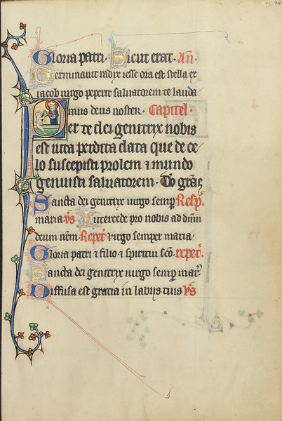 Initial P: The Virgin Mary Taking the Hand of a Person Raised from the Dead