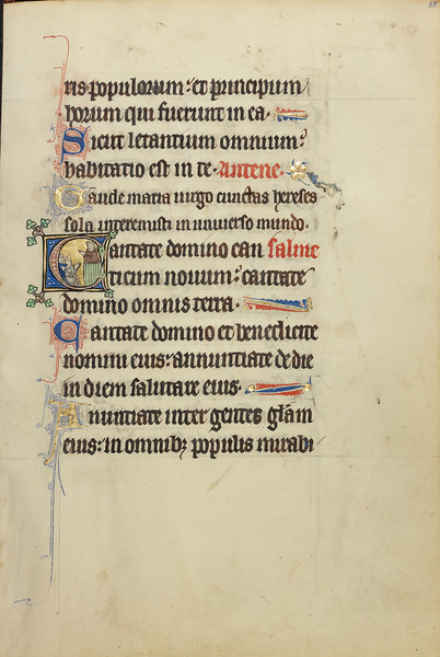Initial C: A Monk, possibly Franciscan, Preaching from a Pulpit