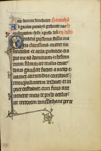 Initial O: A Young Man and a Devil before the Virgin and Child