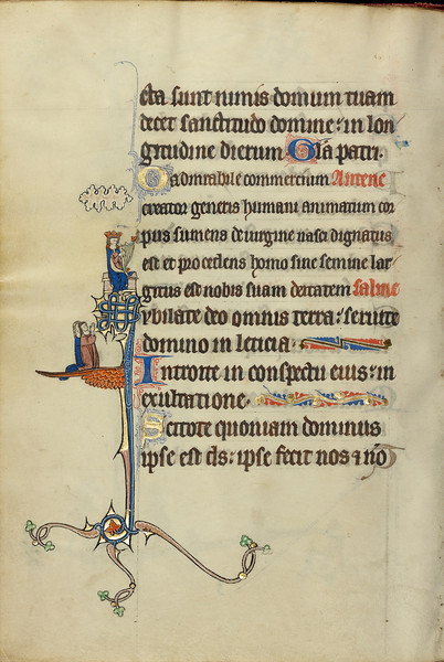 Initial J: David Playing the Harp and Two Persons Praying