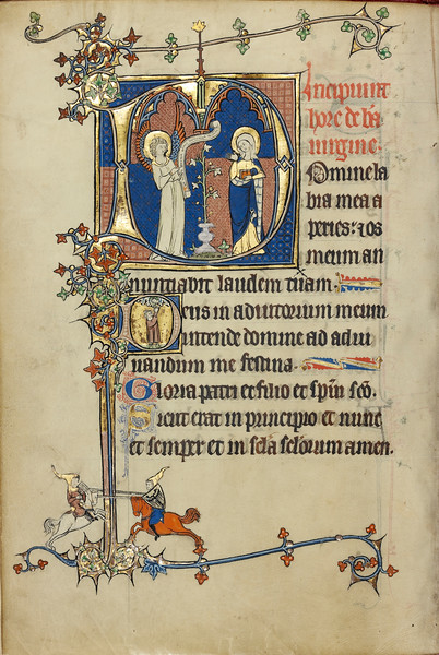 Initial D: The Annunciation; Initial D: A Young Man Praying to Christ in the Clouds