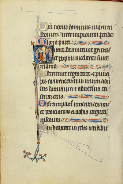 Initial H: A Deacon in Prayer before a Saint with a Book and Martyr's Palm