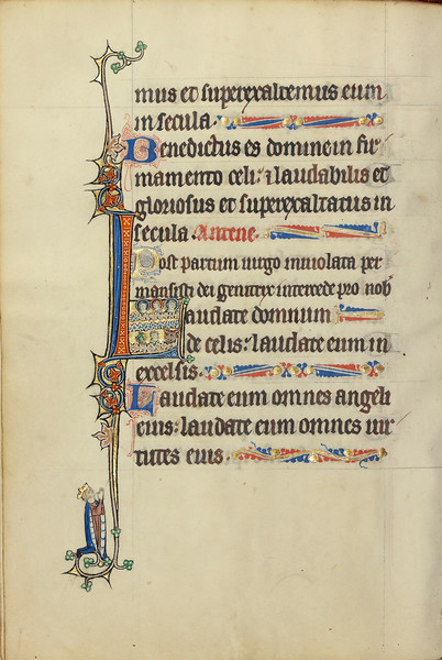 Initial L: Three Nimbed Heads, a Head of a Man, and a Head of a Bull