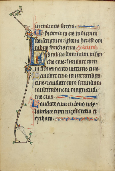 Initial L: Two Women Holding Scrolls