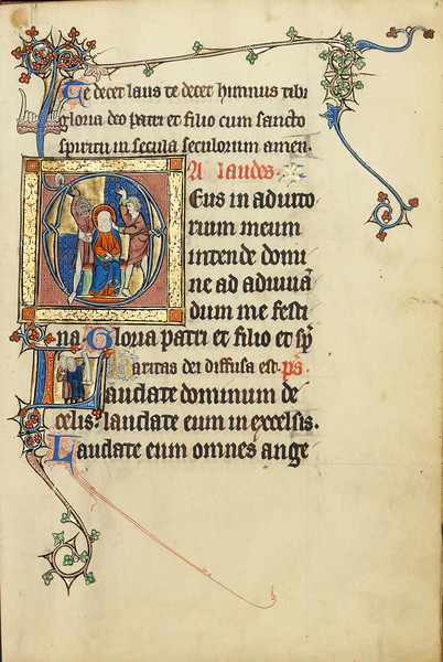 Initial A: The Mocking of Christ; Initial L: Two Men Holding Scrolls