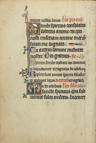 Initial S: A Bishop before a Fire; Initial O: A Nimbed Monk and a Female Saint