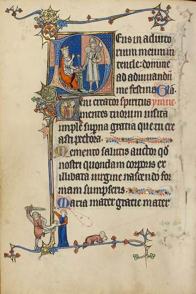 Initial D: Herod Ordering the Massacre of the Innocents; Initial V: Clerics Singing