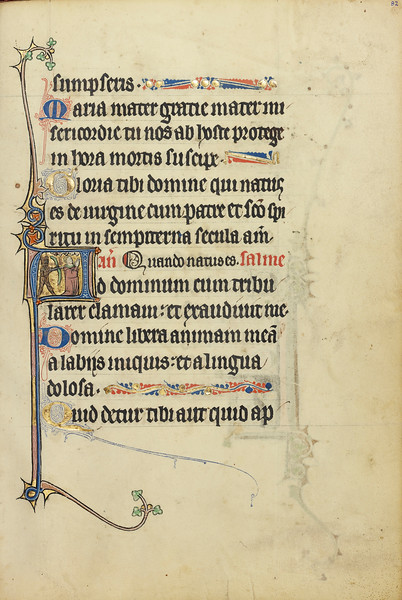 Initial A: A Devil Aiming with a Bow and Arrow at a Kneeling Man in Prayer