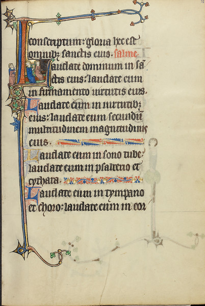 Initial L: Two Men Playing a Harp and a Hand Organ