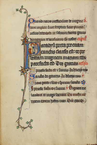 Initial P: The Virgin Mary Opening a Door to a Woman