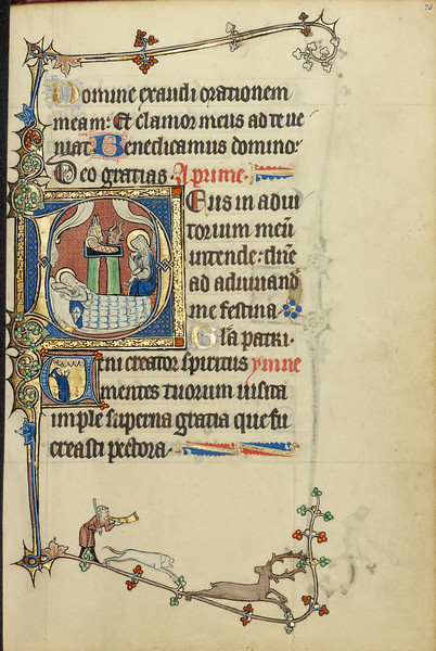 Initial D: The Nativity; Initial V: A Monk in Prayer