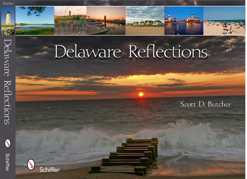 "Delaware Reflections<br /> The Delaware Coast.  Those words conjure images of pastel sunrises and brilliant sunsets; of historic communities and wooden boardwalks; of memories past and vacations present.  Delaware Reflections captures the essence of the Delaware Coast through Scott Butcher's stunning photography of Lewes, Rehoboth Beach, Dewey Beach, Bethany Beach, and Fenwick Island, as well as Cape Henlopen State Park, Delaware Seashore State Park, and Fenwick Island State Park.  Take a tour of Delaware's coastal towns, beaches and bays through this keepsake book, and visit the beach all year long.  <br /> <br /> Order: <a href=""http://www.schifferbooks.com/newschiffer/book_template.php?isbn=9780764332005"">http://www.schifferbooks.com/newschiffer/book_template.php?isbn=9780764332005</a>"