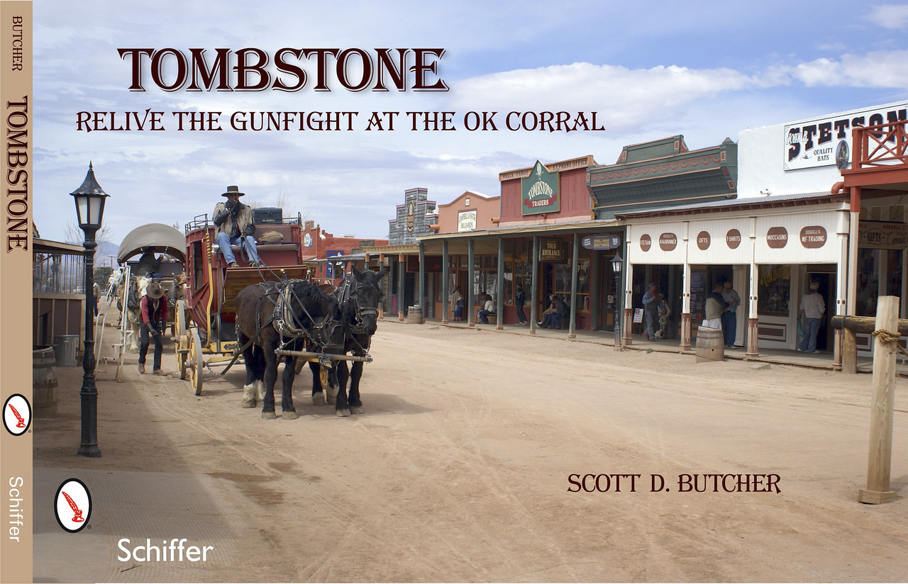 "Tombstone: Relive the Gunfight at the OK Corral<br /> The gunfight at the OK Corral has made Tombstone, Arizona, the most famous Wild West town in America. A century and a quarter after the Earp brothers and ""Doc"" Holliday faced off against the Clanton and McLaury brothers, their story continues to captivate and polarize. Read about and see reenactment of the famous streetfight as well as 100 color photographs of the town—historic Allen Street, Tombstone Court House State Park, Boot Hill Cemetery, early public buildings, churches, and more. Combined with informative text, this book recalls many stories of this iconic town.<br /> <br /> Order: <a href=""http://www.schifferbooks.com/newschiffer/book_template.php?isbn=9780764334252"">http://www.schifferbooks.com/newschiffer/book_template.php?isbn=9780764334252</a>"