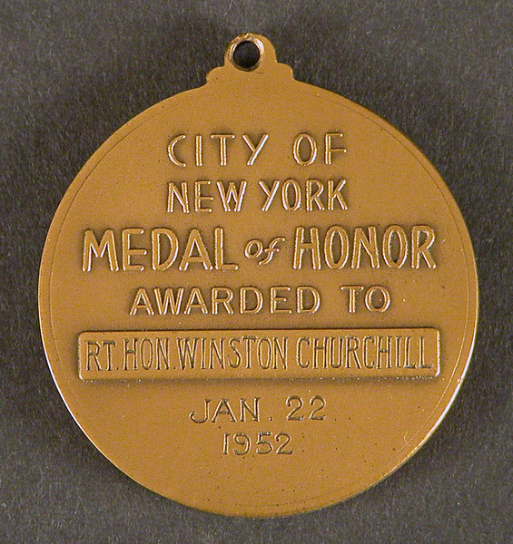19. Churchill's Medal of Honor, 1952<br /> On loan from Chartwell, National Trust<br /> © National Trust Images /Charles Thomas<br /> In January 1952 Churchill visited New York as a peacetime Prime Minister and received the City's Medal of Honor.