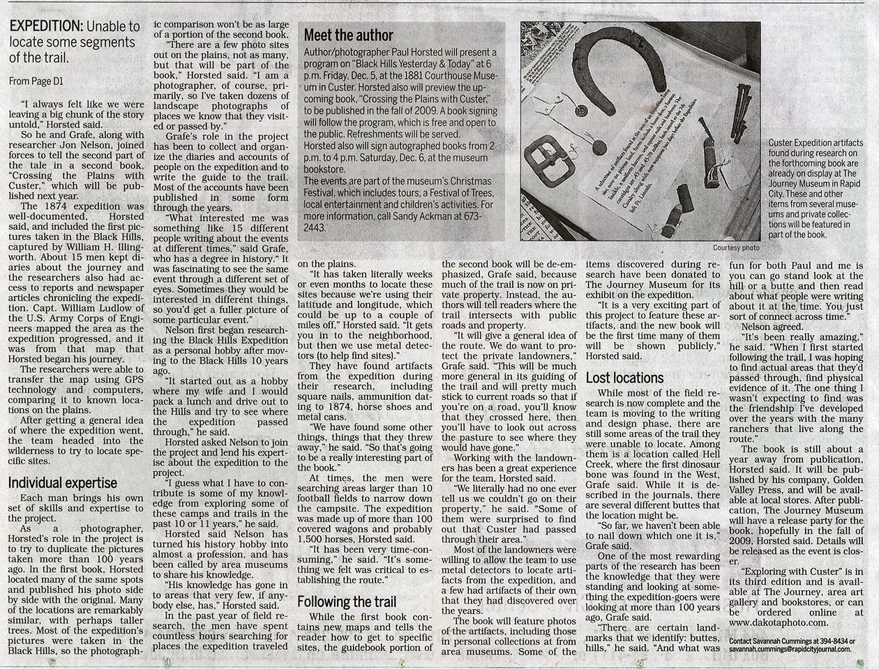 Continuation of Nov. 30, 2008 Rapid City Journal story about the project.