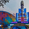 The interplanetary travel pandal is in a Kurmatoli park. The next picture shows what you see when you enter the globe behind the rocket.