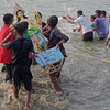 """""""After the puja the idols are ceremoniously dumped into the river. Since the Hooghly River that runs the length of Calcutta is a tributary of the Ganges, the goddess Durga can then travel leisurely upstream via that most sacred river to her home in the Himalayas."""""""