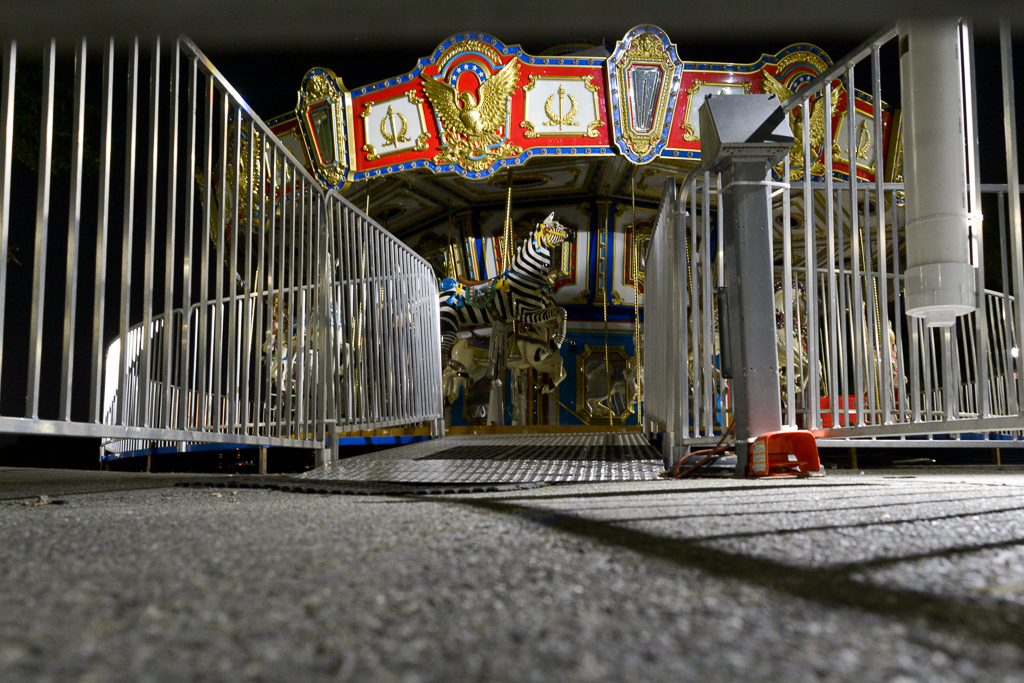 This photo, used for the book's cover, shows the carousel on the Boston Common at night. The mouse-level perspective, composition and lines (note how the bars of the fence and the shadows on the ground mirror the stripes on the zebra) make this photo visually interesting but I especially like seeing this scene through Elliott's eyes. Does he know what a carousel is? Is he sad because the lights are off and the fun is over? Is he lonely because all the children are gone? Does he feel left out because he wasn't invited to play?
