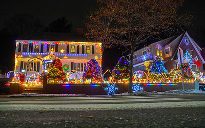 Elliott has good taste and a sense of irony so I think he would enjoy these kitschy Christmas lights in Belmont, MA as much as we do!
