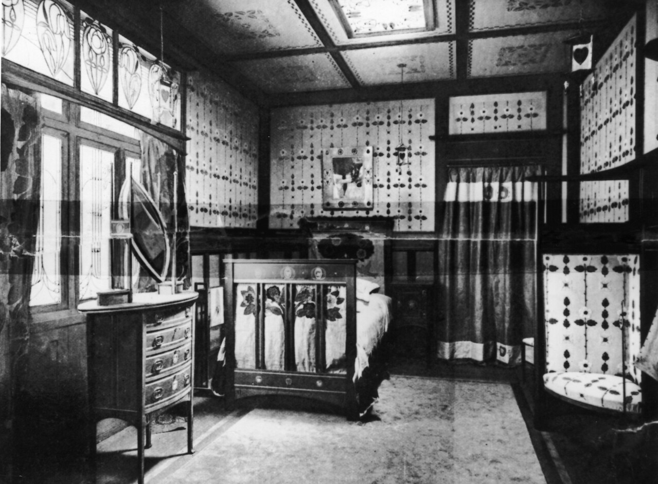 A bedroom decorated and furnished by Wylie and Lochhead, at the Glasgow Exhibition of Decorative and Industrial Art, 1901. From the Art Journal. (Photo by Hulton Archive/Getty Images)