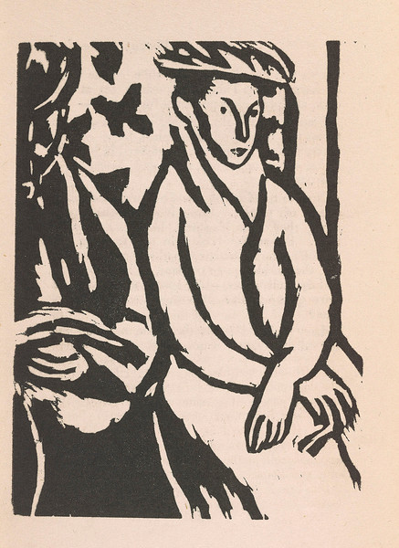 Woolf, Virginia, 1882-1941.  Monday or Tuesday / Richmond, Surrey : Published by Leonard & Virginia Woolf at The Hogarth Press, 1921. PML 136392, illustration by Vanessa Bell, plate facing p. 39