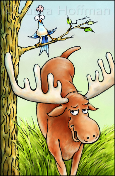 "Page 13, Moose on the Move<br /> Moose's antlers are not wings.<br /> <br /> Published in Fall, 2011<br /> Reading A-Z<br /> <a href=""http://www.readinga-z.com/book.php?id=1561"">http://www.readinga-z.com/book.php?id=1561</a><br /> Illustrated by Laura Hoffman"