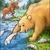 Page 8, Moose on the Move<br /> Moose meets bear.<br /> <br /> Published in Fall, 2011<br /> Reading A-Z<br /> Illustrated by Laura Hoffman