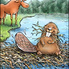Page 6, Moose on the Move<br /> Moose meets Beaver.<br /> <br /> Published in Fall, 2011<br /> Reading A-Z<br /> Illustrated by Laura Hoffman