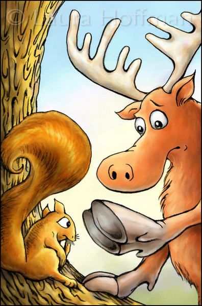Page 5, Moose on the Move<br /> Moose can't climb trees.<br /> <br /> Published in Fall, 2011<br /> Reading A-Z<br /> Illustrated by Laura Hoffman