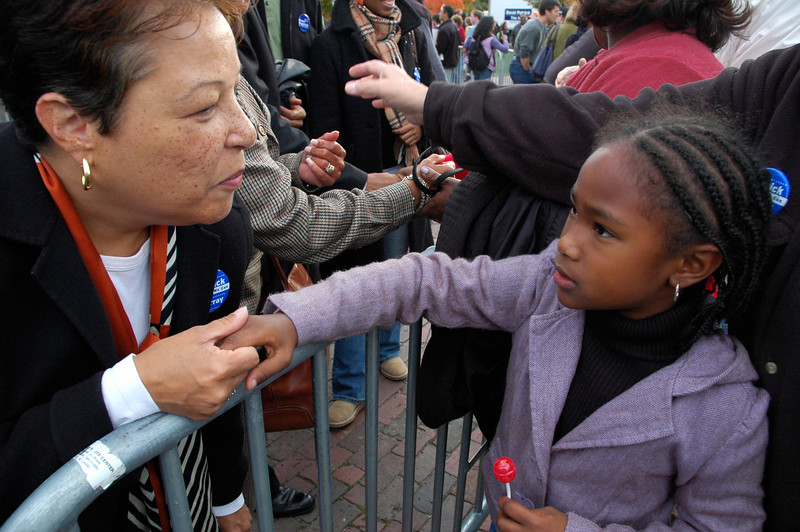 Diane Patrick and Young Admirer, Deval Patrick Rally, Boston Common 2006