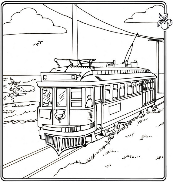 P. 13 Art<br /> Pacific Electric Railway<br /> Orange County's Colorful Past Coloring Book<br /> Commissioned by the Orange County Archives<br /> By Laura Hoffman<br /> <br /> Used by permission from the Orange County Archives