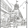 P. 21 Art<br /> Fourth Street, Santa Ana<br /> Spurgeon Clock Tower<br /> Orange County's Colorful Past Coloring Book<br /> Commissioned by the Orange County Archives<br /> By Laura Hoffman<br /> <br /> Used by permission from the Orange County Archives
