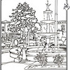 P. 9 Art<br /> Orange Plaza<br /> Orange County's Colorful Past Coloring Book<br /> Commissioned by the Orange County Archives<br /> By Laura Hoffman<br /> <br /> Used by permission from the Orange County Archives