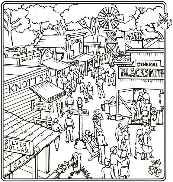 P. 15 Art<br /> Knott's Berry Farm<br /> Orange County's Colorful Past Coloring Book<br /> Commissioned by the Orange County Archives<br /> By Laura Hoffman<br /> <br /> Used by permission from the Orange County Archives