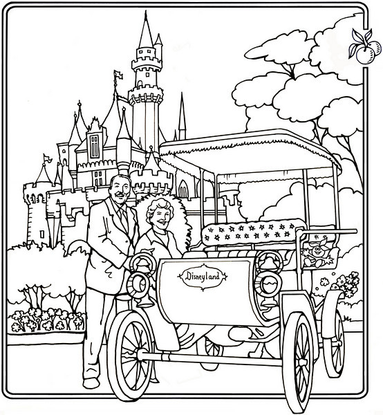 P. 17 Art<br /> Disneyland Opening Day, 1955<br /> Orange County's Colorful Past Coloring Book<br /> Commissioned by the Orange County Archives<br /> By Laura Hoffman<br /> <br /> Used by permission from the Orange County Archives