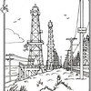 P. 18 Art<br /> Huntington Beach Oil<br /> Orange County's Colorful Past Coloring Book<br /> Commissioned by the Orange County Archives<br /> By Laura Hoffman<br /> <br /> Used by permission from the Orange County Archives