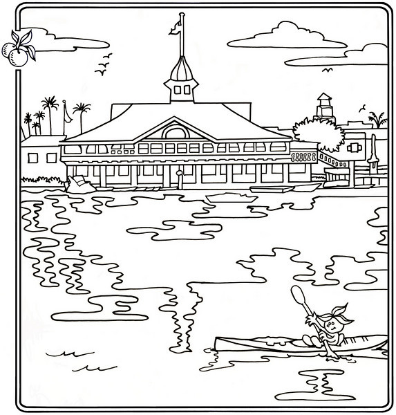 P. 20 Art<br /> Balboa Pavilion, Newport Harbor<br /> Orange County's Colorful Past Coloring Book<br /> Commissioned by the Orange County Archives<br /> By Laura Hoffman<br /> <br /> Used by permission from the Orange County Archives