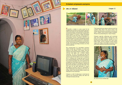 """Transformative Impact of ICT - Change stories from rural India"" is a MSSRF (M S Swaminathan Research Foundation) book by Arundhathi, Suchit Nanda and Subbiah Arunachalam.   More details can be found at:  http://www.mssrf.org/  and  http://www.mssrf-nva.org/"