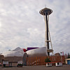 Seattle Center-Experience Music Project (EMP) and the famous Space Needle. WA-seattle-28feb09-3808