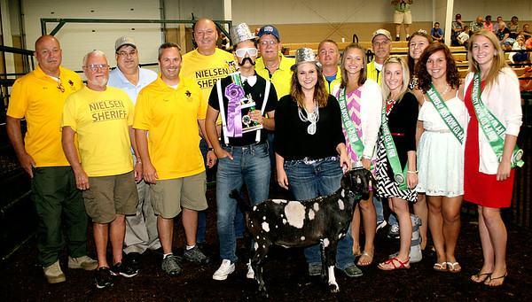 """Rod Rose The Lebanon Reporter<br /> Jacy Hill's grand champion market wether  brought $3,000 from the multi-member """"Friends of Jacy Hill."""""""