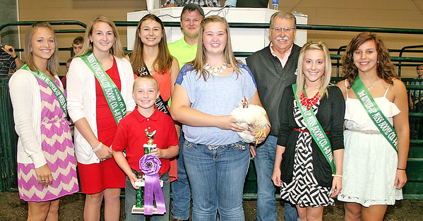 Rod Rose The Lebanon Reporter<br /> Katheen Miller's grand champion poultry sold for $500, with bidders including Joe and Anne Newsom, City Securities of Lafayette, and Chase Newsom.