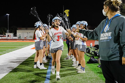 Feb 17, 2021; Orlando, FL, USA; Boone High Girls Varsity Lacrosse during a match against Seminole High at McCoy Federal Credit Union Athletic Complex. . Mandatory Credit: Mike Watters-Boone High Sports