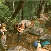 Many people joined Johnny Be and myself over the years and here is Lindal Newbius with son Peter in 1989 taking a break on the gorge section of the Upper Creek trail.  Check out her old sleeping pad.
