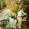 Behind Burnthouse Camp is a 100 foot sidecreek waterfall and here I am with Lindal on top of the falls checking out the view.  I am wearing my standard backpacking outfit of the time---BDU pants, crappy Sears hunting boots, my old 1969 USAF fatigue shirt cut into a vest, and my old bush hat.