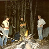 Sometime in the early 1980's me and Bob Alderink (yellow shirt) took a trip to Harpers Creek where we built a sweatlodge and did some hiking.  I am wearing my standard backpacking outfit at the time---cammies and cotton.