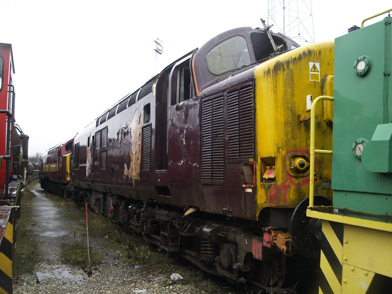37428 awaits the cutters torch in Booths Rotherham