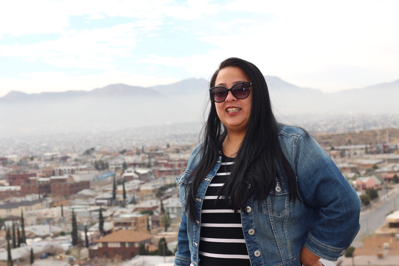 WELCA/Ammparo Border Immersion trip, February 1-5 2020, El Paso, Texas | <br /> <br /> <br /> Jen DeLeon standing at the overlook in Murchison Park, El Paso, Texas.