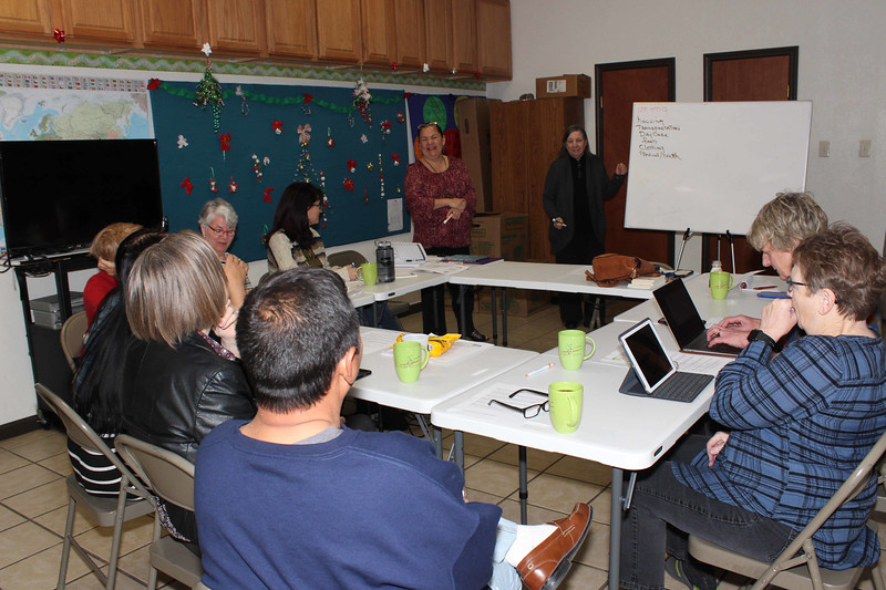 WELCA/Ammparo Border Immersion trip, February 1-5 2020, El Paso, Texas | <br /> <br /> <br /> Pastor Rose Mary begins her talks to the group about the economic realities of the members in her community.